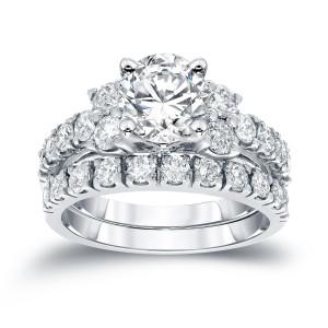 White Gold 2ct TDW Round Diamond Engagement Bridal Ring Set - Custom Made By Yaffie™