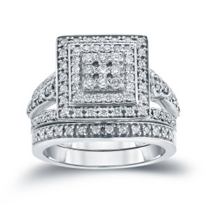 3/5ct TDW Round Diamond Cluster Bridal Ring Set - Custom Made By Yaffie™
