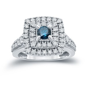 1 2/5ct TDW Round Blue Diamond Cluster Engagement Ring - Custom Made By Yaffie™