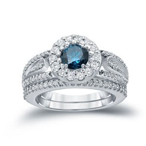 1 3/5ct TDW Round Blue Diamond Cluster Bridal Ring Set - Custom Made By Yaffie™