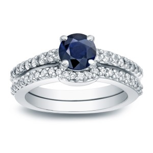 1/2ct Blue Sapphire and 1/2ct TW Round Diamonds Engagement Ring - Custom Made By Yaffie™