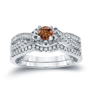 1/2ct TDW Brown Diamond Braided Bridal Ring Set - Custom Made By Yaffie™