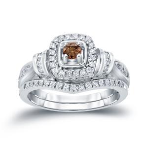 1/2ct TDW Halo Brown Diamond Bridal Ring Set - Custom Made By Yaffie™