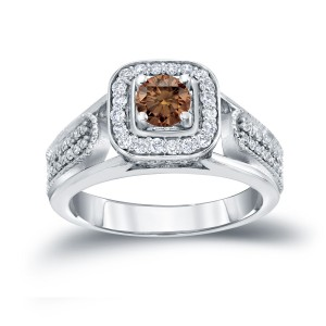 1/2ct TDW Halo Brown Diamond Engagement Ring - Custom Made By Yaffie™