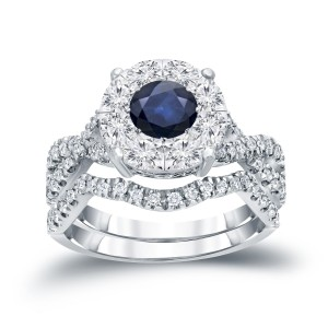 1/3ct Blue Sapphire and 7/8ct TDW Cluster Diamond Braided Bridal Ring Set - Custom Made By Yaffie™