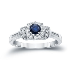 1/4ct Blue Sapphire and 1/4ct TDW Diamond Bridal Ring Set - Custom Made By Yaffie™