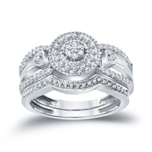1/4ct TDW Cluster Diamond Bridal Ring Set - Custom Made By Yaffie™