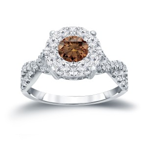 1ct TDW Brown Cluster Diamond Braided Engagement Ring - Custom Made By Yaffie™