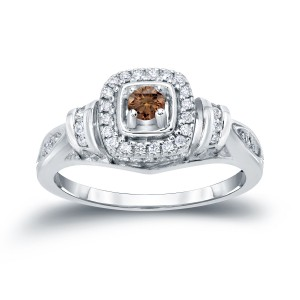 2/5ct TDW Halo Brown Diamond Engagement Ring - Custom Made By Yaffie™