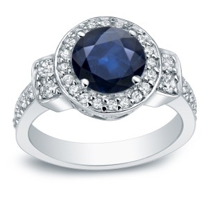 2ct Blue Sapphire and 3/4ct TDW Round Diamond Halo Engagement Ring - Custom Made By Yaffie™