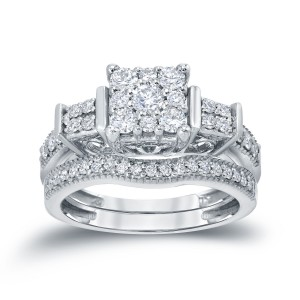 3/4ct TDW Cluster Diamond Bridal Ring Set - Custom Made By Yaffie™