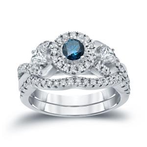 3/4ct TDW Halo Blue Diamond Braided Bridal Ring Set - Custom Made By Yaffie™