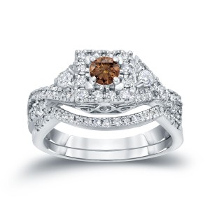 3/4ct TDW Halo Brown Diamond Braided Bridal Ring Set - Custom Made By Yaffie™