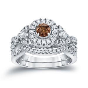 3/4ct TDW Halo Brown Diamond Braided Bridal Ring Set - Custom Made By Yaffie™