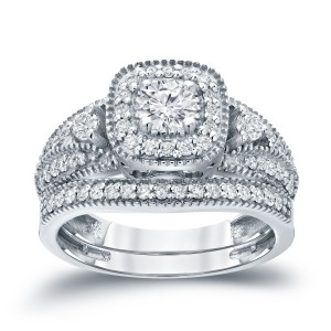 3/4ct TDW Halo Diamond Wedding Ring Sets - Custom Made By Yaffie™