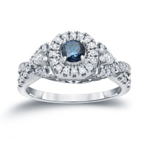 4/6ct TDW Halo Blue Diamond Engagement Ring - Custom Made By Yaffie™