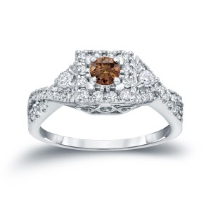 4/6ct TDW Halo Brown Diamond Engagement Ring - Custom Made By Yaffie™