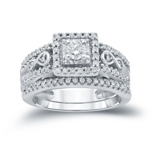 4/6ct TDW Round Diamond Cluster Bridal Ring Set - Custom Made By Yaffie™
