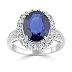 Gold 5 1/5ct Blue and White Sapphire Halo Engagement Ring - Custom Made By Yaffie™