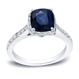 Gold 1 1/2ct Blue Sapphire and 1/2ct TDW Diamond Halo Engagement Ring - Custom Made By Yaffie™