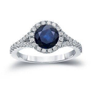 Gold 1 1/2ct Blue Sapphire and 1/2ct TDW Round Cut Diamond Halo Engagement Ring - Custom Made By Yaffie™