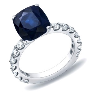 Gold 1 1/2ct Blue Sapphire and 1ct TDW Diamond Engagement Ring - Custom Made By Yaffie™