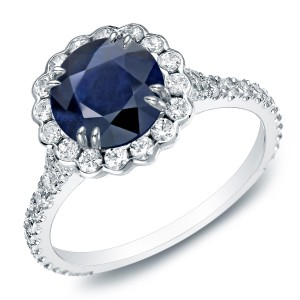 Gold 1 1/2ct Blue Sapphire and 4/5ct TDW Round Diamond Halo Engagement Ring - Custom Made By Yaffie™