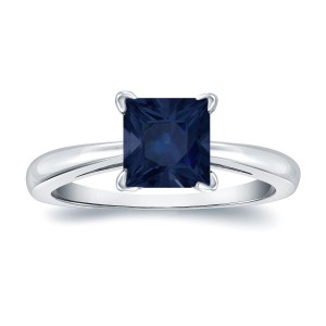 Gold 1 1/2ct Princess Cut Blue Sapphire Solitaire Ring - Custom Made By Yaffie™