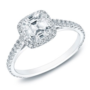Gold 1 1/2ct TDW Certified Asscher-cut Diamond Halo Engagament Ring - Custom Made By Yaffie™