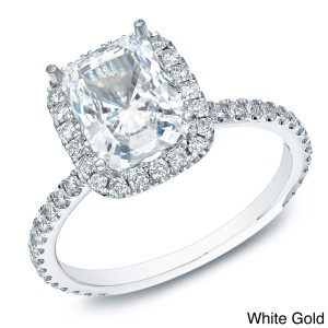 Gold 1 1/2ct TDW Certified Cushion-cut Diamond Halo Engagement Ring - Custom Made By Yaffie™
