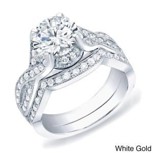 Gold 1 1/2ct TDW Certified Round Diamond Bridal Ring Set - Custom Made By Yaffie™