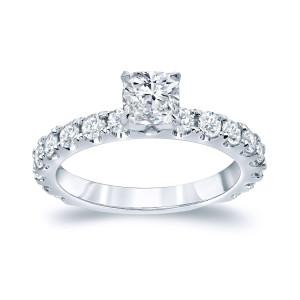 Gold 1 1/2ct TDW Cushion Diamond Engagement Ring - Custom Made By Yaffie™