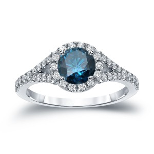 Gold 1 1/2ct TDW Round Cut Blue Diamond Halo Engagement Ring - Custom Made By Yaffie™