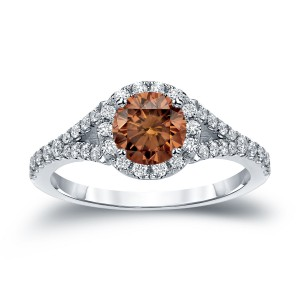 Gold 1 1/2ct TDW Round Cut Brown Diamond Halo Engagement Ring - Custom Made By Yaffie™