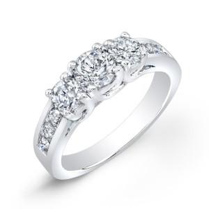 Gold 1 1/2ct TDW Round Diamond 3-stone Engagement Ring - Custom Made By Yaffie™