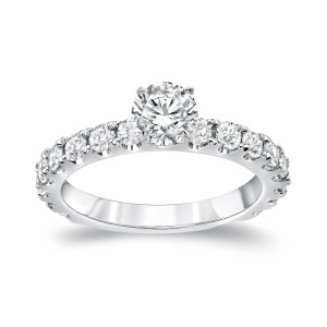 Gold 1 1/2ct TDW Round Diamond Solitiare Engagement Ring - Custom Made By Yaffie™