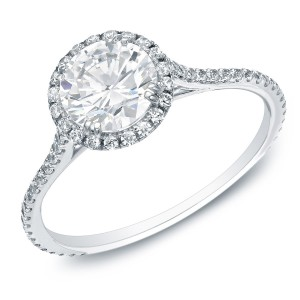 Gold 1 1/2ctTDW Certified Round Diamond Halo Engagement Ring - Custom Made By Yaffie™