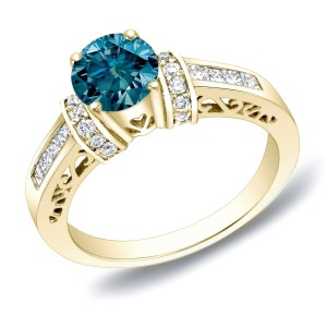 Gold 1 1/4 ct TDW Blue Diamond Engagement Ring With Heart - Custom Made By Yaffie™