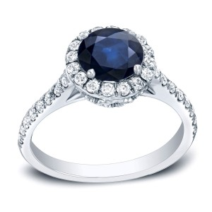 Gold 1 1/4ct Blue Sapphire and 1/2ct TDW Round Diamond Engagement Ring - Custom Made By Yaffie™