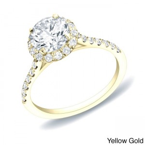 Gold 1 1/4ct TDW Certified Round Halo Diamond Engagement Ring - Custom Made By Yaffie™