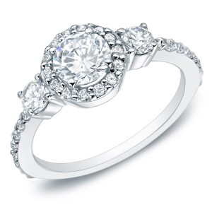 Gold 1 1/4ct TDW Round Diamond Halo Engagement Ring - Custom Made By Yaffie™
