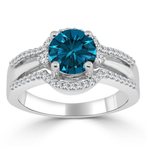 Gold 1 1/5ct TDW Blue Round Diamond Engagement Ring - Custom Made By Yaffie™