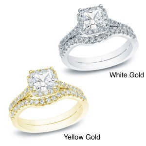 Gold 1 1/5ct TDW Princess-cut Diamond Halo Engagement Ring Set - Custom Made By Yaffie™