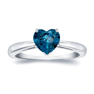 Gold 1 1/6ct TDW Heart Shaped Blue Diamond Solitaire Engagement Ring - Custom Made By Yaffie™