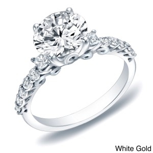 Gold 1 2/5ct TDW Certified Diamond Traditional Engagement Ring - Custom Made By Yaffie™