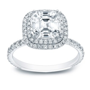 Gold 1 3/4ct TDW Certified Asscher-cut Diamond Halo Engagement Ring - Custom Made By Yaffie™