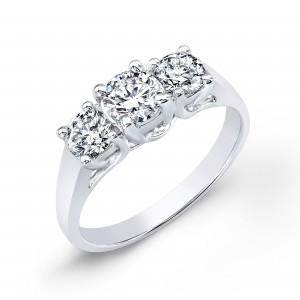 Gold 1 3/4ct TDW Diamond 3-stone Engagement Ring - Custom Made By Yaffie™