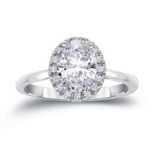 Gold 1 3/5ct TDW Certified Oval Diamond Halo Engagement Ring - Custom Made By Yaffie™