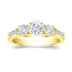 Gold 1 3/5ct TDW Round Diamond Three Stone Ring - Custom Made By Yaffie™