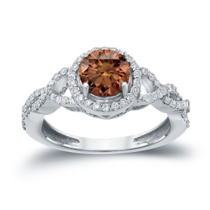 Gold 1 3/8ct TDW Brown Round Diamond Halo Engagement Ring - Custom Made By Yaffie™